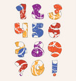 colorful set with hand drawn numbers sequence from vector image vector image