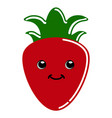 cute strawberry emoticon vector image