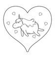 cute unicorn with heart kawaii character vector image