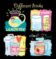 different fruit drinks vector image vector image