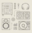 DJ icons vector image vector image