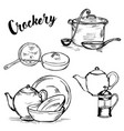 doodle drinkware cups and saucepans vector image