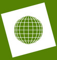 earth globe sign white icon obtained as a vector image vector image