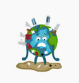 erath globe sad sick tired of polution global vector image