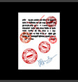 failure document with red stamp rejected square vector image vector image