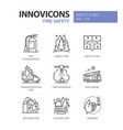fire safety - modern line design style icons set vector image