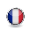 flag of france button with metal frame and shadow vector image