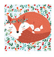 fox mom and baby in pretty cherry berry forest vector image vector image