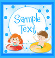frame template with kids in floating rings vector image vector image