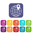globe with pin icons set vector image