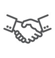handshake line icon finance and banking vector image vector image