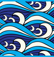 japanese blue sea waves seamless pattern vector image