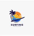 logo surfing landscape vintage badge style vector image