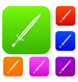 long sword set color collection vector image vector image