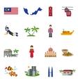Malaysian Culture Symbols Flat Icons Set vector image vector image