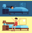 man sleeping waking up person under duvet at vector image