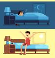 man sleeping waking up person under duvet vector image vector image