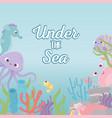 octopus seahorse crab shrimp life coral reef under vector image vector image