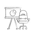office presentation board chair and briefcase vector image vector image