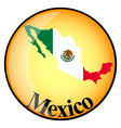 orange button with the image maps of Mexico vector image