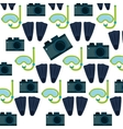 photo camera flippers snorkel mask seamless vector image vector image