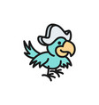 pirate parrot ara bird flat color line icon vector image