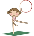 pretty little girl doing gymnastics over white vector image