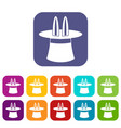 rabbit ears appearing from a top magic hat icons vector image vector image