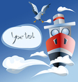 red ship in the air frame clouds seagull vector image