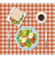 salad coffee sandwich plates fork knife vector image