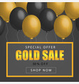 sale poster with shiny balloons on dark background vector image
