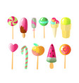 set of bright candies ice creams set of vector image vector image