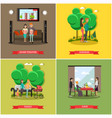 set of happy loving couples posters in flat vector image vector image