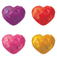 Set of multicolored hearts in low poly style vector image