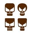 skull flat icon vector image vector image