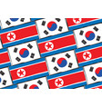 south and north korea flags or banner vector image