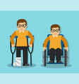 the man broke his leg and the man is disabled vector image vector image