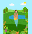 woman in forest smelling tulip trees and lake sky vector image vector image