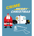 Crime Christmas Santa Claus in handcuffs Deer sits vector image
