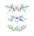 Watercolor floral border set vector image