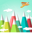 mountain background with a biplane vector image