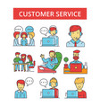 customer service thin line icons vector image