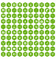 100 on-line seminar icons hexagon green vector image vector image