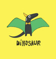 a cute dinosaur with horn and wings on yellow vector image vector image