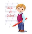 back to school banner card flyer with schoolboy vector image vector image