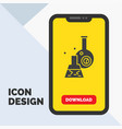 beaker lab test tube scientific glyph icon in vector image vector image