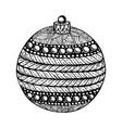black and white christmas ball hand-drawn vector image