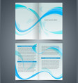 blue booklet template design with waves vector image