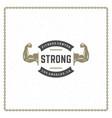 bodybuilder hands logo or badge vector image