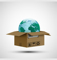cargo delivery cardboard box with planet earth vector image vector image